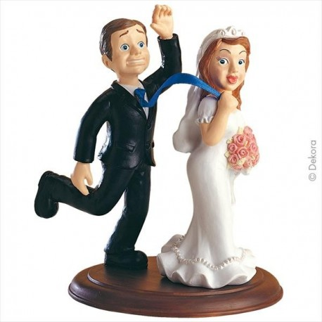 The Bridge Dragging the Groom Wedding Couple 16 cm
